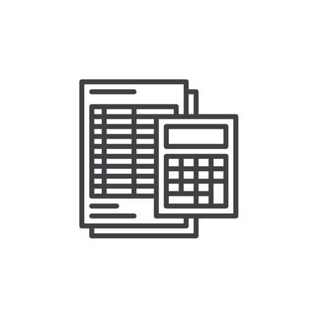 Calculator and sheet line icon, outline vector sign, linear pictogram isolated on white. Accounting symbol, illustration Vektorové ilustrace