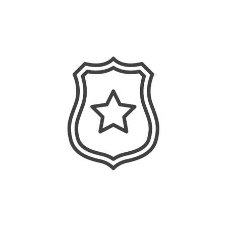 Sheriff badge with star line icon, outline vector sign, linear pictogram isolated on white. Public safety symbol, illustration