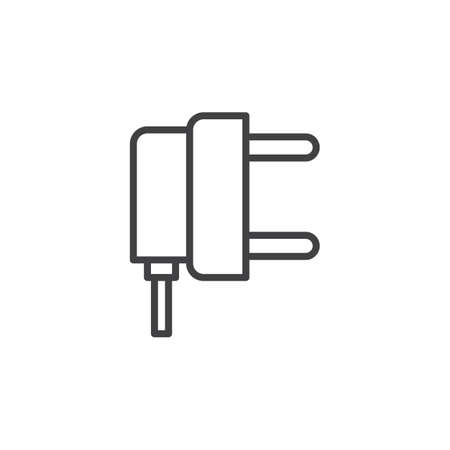 Electric Plug Line Icon, Outline Vector Sign, Linear Style ...