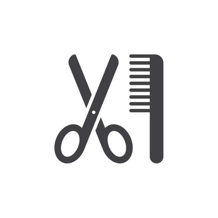 filled: Scissors and comb icon vector, filled flat sign, solid pictogram isolated on white. Barber shop symbol, illustration