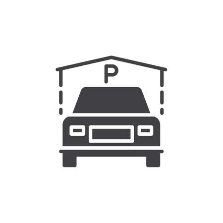 guest house: Indoor Guest Parking icon vector, filled flat sign, solid pictogram isolated on white. Symbol, illustration