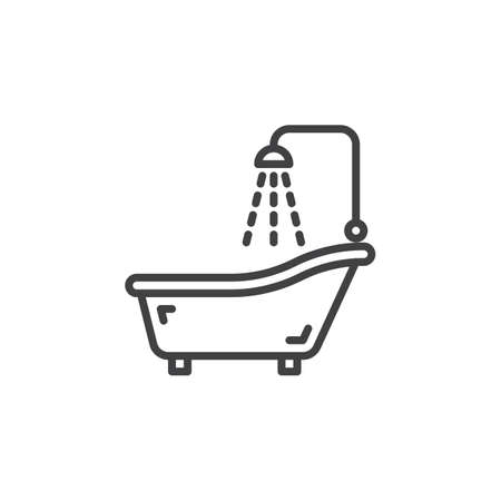 Shower Bath line icon, outline vector sign, linear pictogram isolated on white. Bathtub, bathroom symbol, illustration