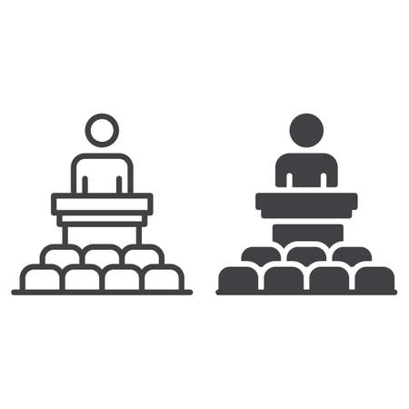 narrator: Speaker, conference line and solid icon, outline and filled vector sign, linear and full pictogram isolated on white. Podium symbol, illustration