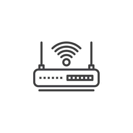 WIFI router line icon, outline vector sign, linear pictogram isolated on white. Internet hotspot symbol,  illustration