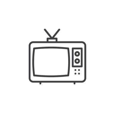 tv unit: Television line icon, outline vector sign, linear pictogram isolated on white. Cable TV symbol, illustration