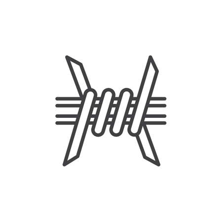 prison guard: Barbed Wire line icon, outline vector sign, linear pictogram isolated on white. Symbol, illustration