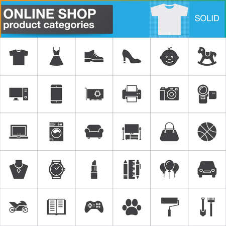 categories: Online shopping product categories vector icons set, modern solid symbol collection, filled style pictogram pack. Signs, logo illustration. Set includes icons as clothes, shoes, computer, electronics