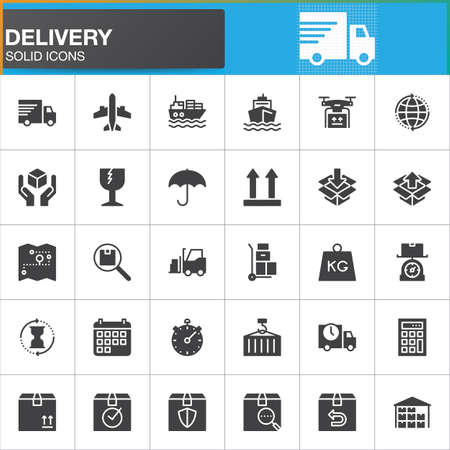 Delivery and logistics vector icons set, modern solid symbol collection, filled style pictogram pack. Signs, logo illustration. Set includes icons as shipping, transportation, tracking, parcel, weight