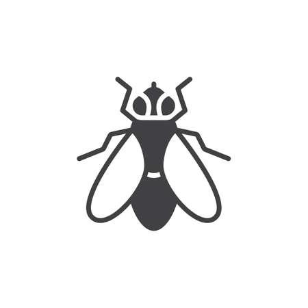 Ikona wektor mucha, wypełnione mieszkanie znak, stały piktogram na białym tle. Symbol, ilustracja logo