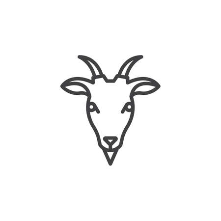 Goat head line icon, outline vector sign, linear pictogram isolated on white. Symbol,  illustration