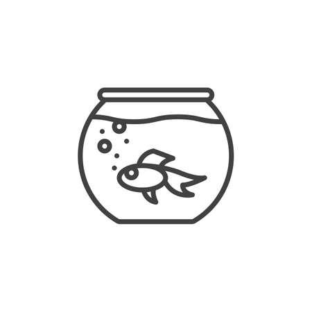 魚線アイコンと水族館、アウトライン ベクトル、線形のピクトグラムを白で隔離に署名します。