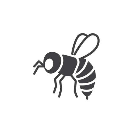 Bee, wasp icon vector, filled flat sign, solid pictogram isolated on white. Symbol,