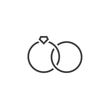 Marital status line icon, wedding rings outline vector sign, linear pictogram isolated on white. logo illustration