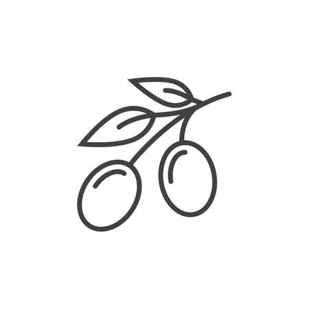 Olive line icon, outline vector sign, linear pictogram isolated on white. logo illustration 矢量图像