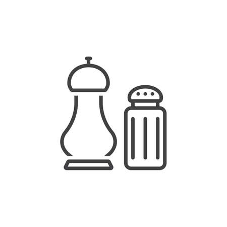 salt and pepper shakers line icon, outline vector sign, linear pictogram isolated on white. logo illustration.