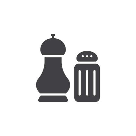 salt and pepper shakers icon vector, solid flat sign, pictogram isolated on white. Illustration