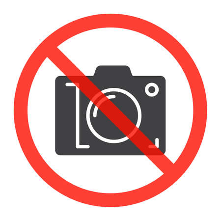 prohibiting: Camera icon in prohibiting red circle, No photos ban sign, Forbidden to take pictures symbol. Vector illustration Illustration