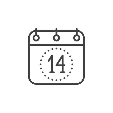 fourteenth: Calendar, Fourteenth of December line icon, outline vector sign, linear pictogram isolated on white. Valentines day symbol, logo illustration