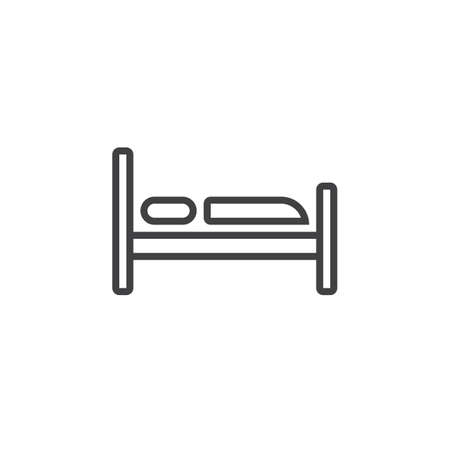Hotel Bed line icon, outline vector sign, linear pictogram isolated on white. logo illustration