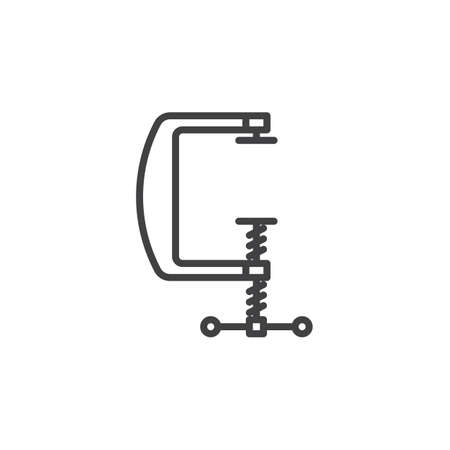 C clamp line icon, outline vector sign, linear pictogram isolated on white. Compress symbol, logo illustration