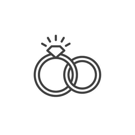 Verlobung Hochzeit Ringe Icon Vektor Gefullt Flache Zeichen