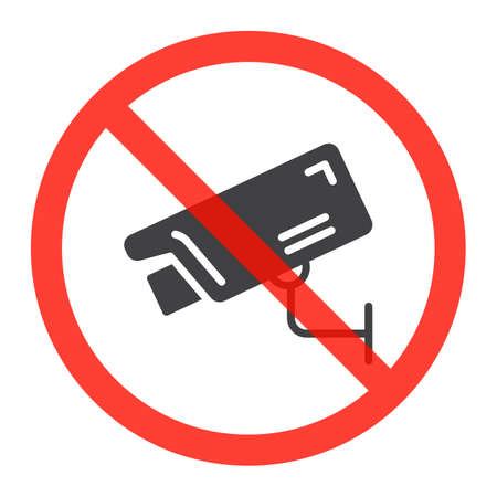 Security camera icon in prohibition red circle, No surveillance ban sign, forbidden symbol. Vector illustration isolated on white