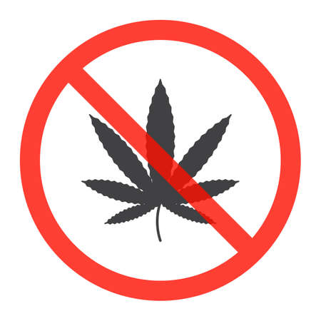 Cannabis leaf icon in prohibition red circle, No Marijuana ban or stop sign, forbidden symbol. Illustration