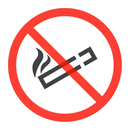 Cigarette line icon in prohibition red circle, No smoking ban or stop sign, forbidden symbol. Vector illustration isolated on white Illustration