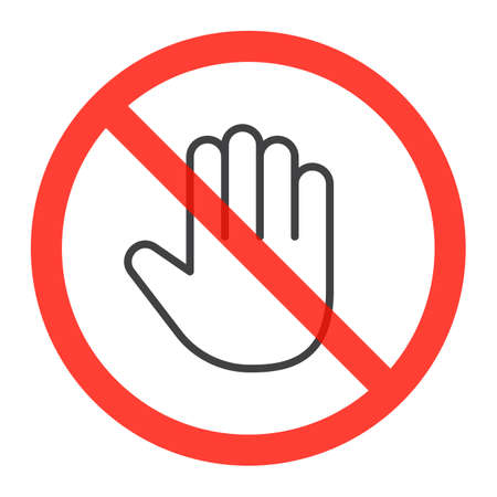 Hand line icon in prohibiting red circle, do not touch ban sign, Forbidden symbol. Vector illustration