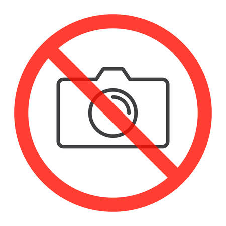prohibiting: Camera line icon in prohibiting red circle, No photos ban or stop sign, Forbidden to take pictures symbol. Vector illustration