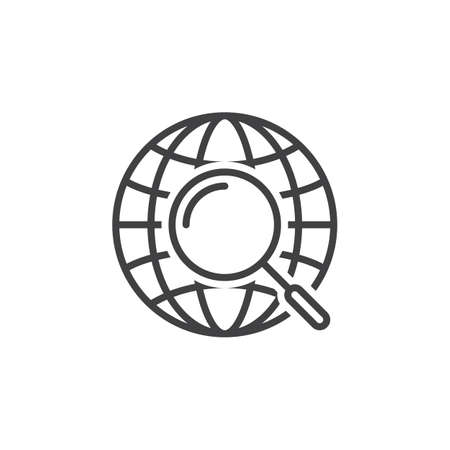 globe logo: global search symbol. magnifying glass and globe line icon, outline vector sign, linear pictogram isolated on white. logo illustration Illustration