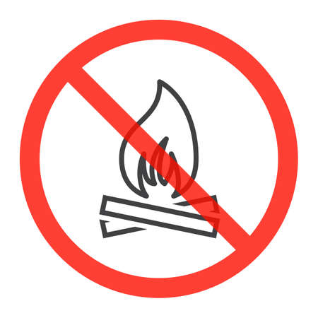 Fire line icon in prohibition red circle, No bonfire ban or stop sign, forbidden symbol. Vector illustration isolated on white