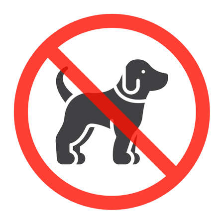 Dog icon in prohibition red circle, No pets ban sign, forbidden symbol. Vector illustration isolated on white