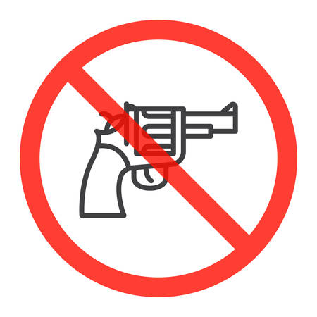 Revolver gun line icon in prohibition red circle, No weapons ban sign, forbidden symbol. Vector illustration isolated on white