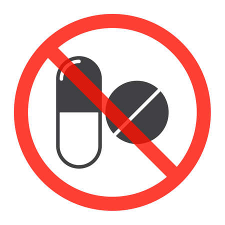 Drugs icon in prohibition red circle, No doping ban or stop sign, medicine forbidden symbol. Vector illustration isolated on white