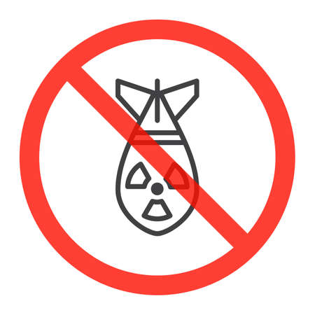 no nuclear: Atomic bomb line icon in prohibition red circle, No nuclear weapon ban sign, forbidden symbol.