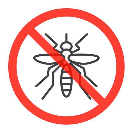 Mosquito line icon in prohibition red circle, Stop zika virus ban sign, forbidden symbol. Vector illustration isolated on white