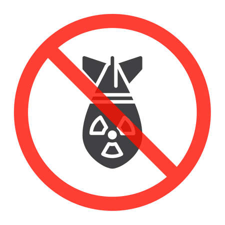 no nuclear: Atomic bomb icon in prohibition red circle, No nuclear weapon ban sign, forbidden symbol. Vector illustration isolated on white