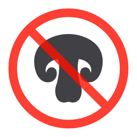 No mushrooms ban sign, icon in prohibition red circle, forbidden symbol. Vector illustration isolated on white Illustration