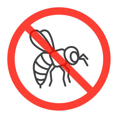 Bumblebee line icon in prohibition red circle, No honey bees ban sign, forbidden symbol. Vector illustration isolated on white Illustration