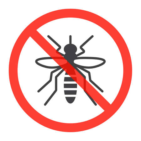Mosquito icon in prohibition red circle, Stop zika virus ban sign, forbidden symbol. Vector illustration isolated on white