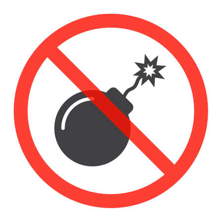 Explosive icon in prohibition red circle, No bombs ban sign, forbidden symbol. Vector illustration isolated on white Illustration