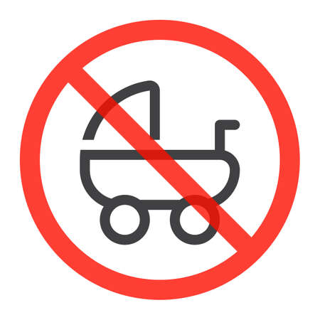 Stroller, pram line icon in prohibition red circle, No baby carriage ban or stop sign, forbidden symbol.