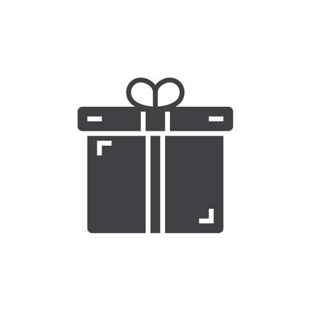 gift present icon vector filled flat sign solid pictogram isolated on white negle Image collections