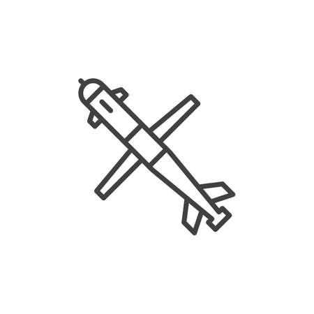 Cruise missile line icon, outline vector sign, linear pictogram isolated on white. Symbol, logo illustration Illustration