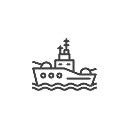 戦艦線アイコン アウトライン ベクトル、線形のピクトグラムを白で隔離に署名します。シンボル、ロゴの図  イラスト・ベクター素材