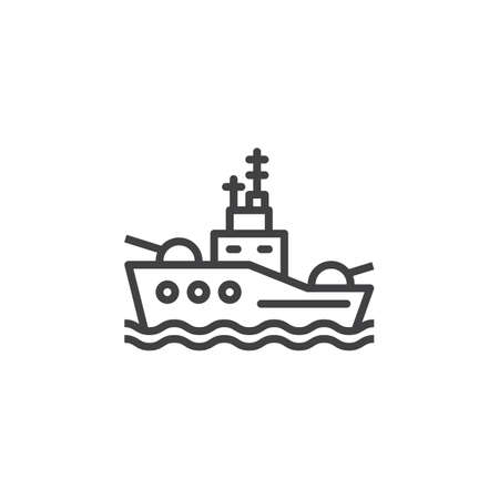 Battleship line icon, outline vector sign, linear pictogram isolated on white. Symbol, logo illustration Ilustração