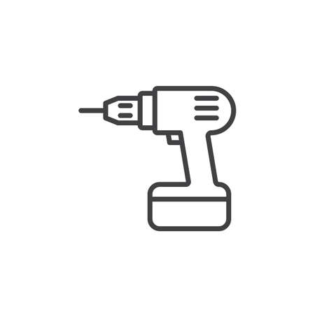 Electric Drill, Screwdriver line icon, outline vector sign, linear pictogram isolated on white. Symbol, logo illustration Ilustração