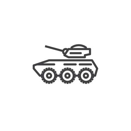 装甲キャリア ライン アイコン、アウトライン ベクトル、線形のピクトグラムを白で隔離に署名します。シンボル、ロゴの図