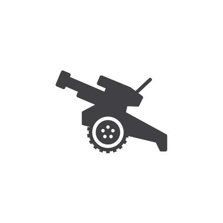 Howitzer, cannon icon vector, filled flat sign, solid pictogram isolated on white. Symbol, logo illustration